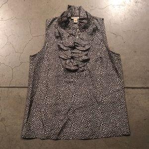 JCrew silk sleeveless ruffles top